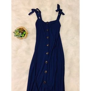 NWOT Long blue dress with buttons
